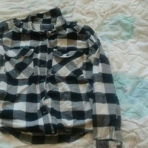 Black, Grey And White Plaid Button Up Shirt